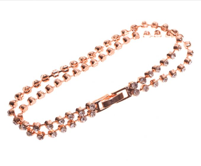 Sweet Lola Bracelet - Two Rows of Rose Gold with Clear Crystals