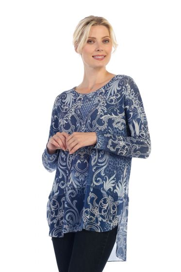 Jess & Jane Veriegated Rib Knit Tunic with Wool Dobby Contrast - Assorted Prints