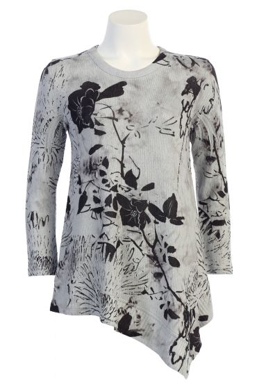 Jess & Jane Crepe Sweater Knit Asymetric Tunic Top - Assorted Prints