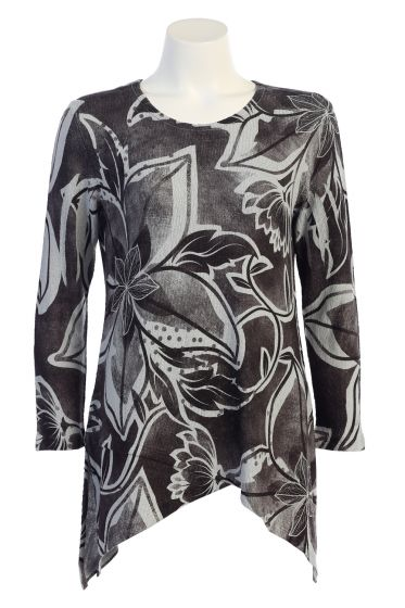 Jess & Jane Crepe Sweater Knit Tunic Top - Assorted Prints
