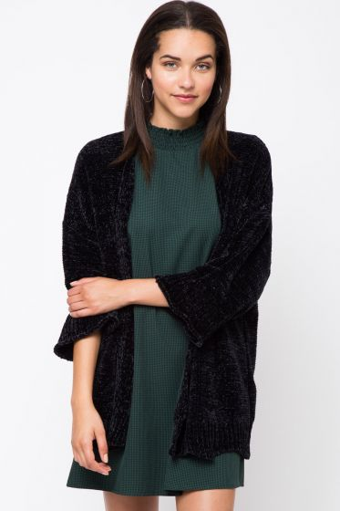 Cozy! Chenille Open Cardigan Sweater by Very J - Black or Rust