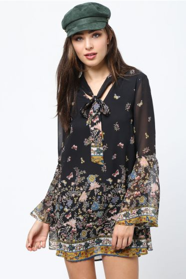 Beautiful Organza Black Floral Dress with Tie & Bell Sleeves by LoveRiche
