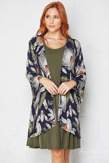 Honeyme Clothing USA Kimono Cardigan - Navy Peacock Feathers Print