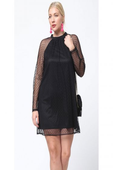LBD Gorgeous Black Mesh Polka Dot Dress by LoveRiche