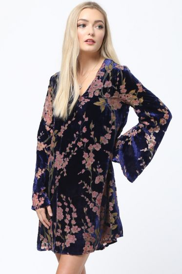 Exquisite Blue Velvet Burn-Out Floral Print Dress by LoveRiche