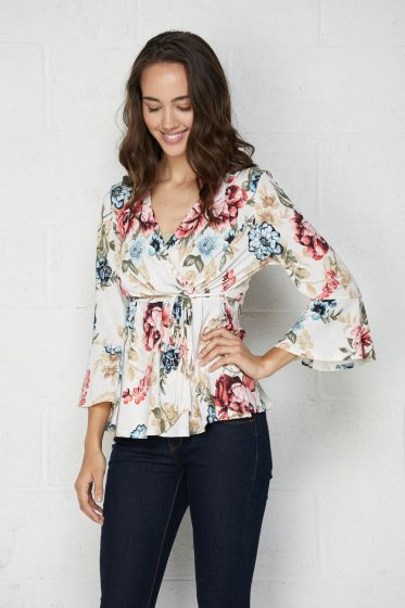 Honeyme Clothing USA Faux Wrap Floral Top - Ivory/Red Blossom