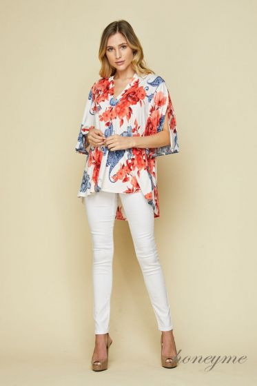 Honeyme Clothing USA Open Sleeve Top - Red & Ivory Floral Print