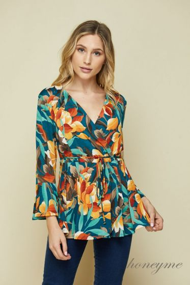 Honeyme Clothing USA Faux Wrap Floral Top - Teal/Rust Blossom