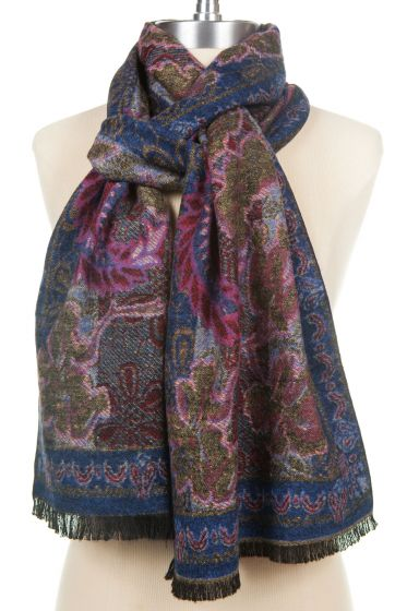 100% Cashmere Floral Paisley Scarf by Rapti - Navy & Pink