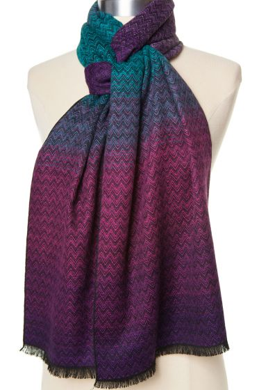 100% Cashmere Chevron Pattern Scarf by Rapti - Purple, Fuchsia, Teal