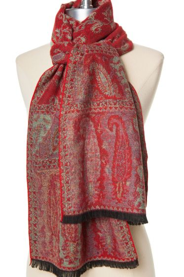 100% Cashmere Red Paisley Scarf by Rapti - Too Soft!