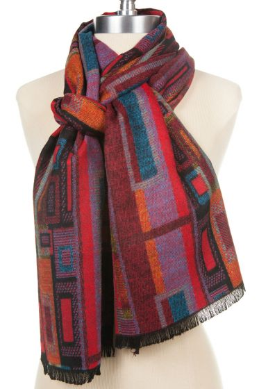 100% Cashmere Red Geometric Design Scarf by Rapti - Too Soft!