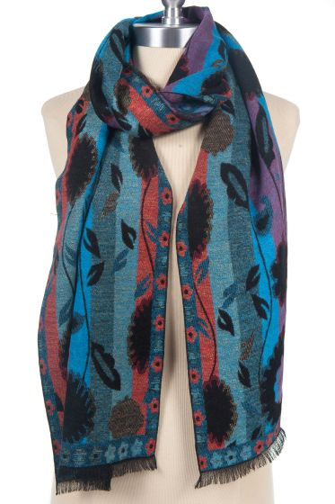 100% Cashmere Scarf by Rapti - Red & Blue Flower & Stripes Pattern