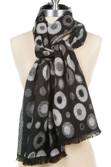 100% Cashmere Pattern Scarf by Rapti - Black, White, Grey Circles & Dots