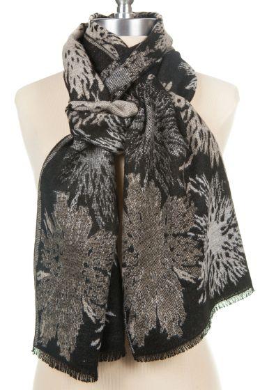 100% Cashmere Scarf by Rapti - Black, White, Grey Floral Pattern
