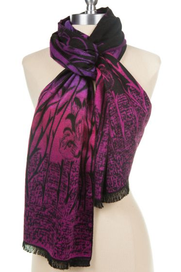 100% Cashmere Scarf by Rapti - Fuchsia Pink & Purple Tulip Flower Print