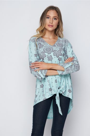 Lovely Honeyme Blouse Top with Tie Front - Mint & Grey Lacy Print