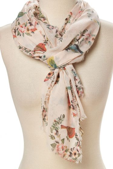JC Sunny 100% Cotton Scarf - Birds in Floral Wreath - Beige & Pink