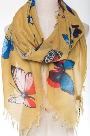 Large JC Sunny 100% Cotton Scarf/Wrap - Pretty Butterflies