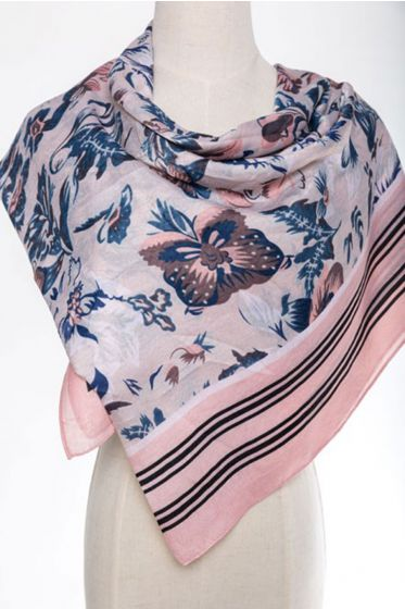 Large JC Sunny Cashmere Blend Scarf/Wrap - Floral Pink or Blue Striped Border