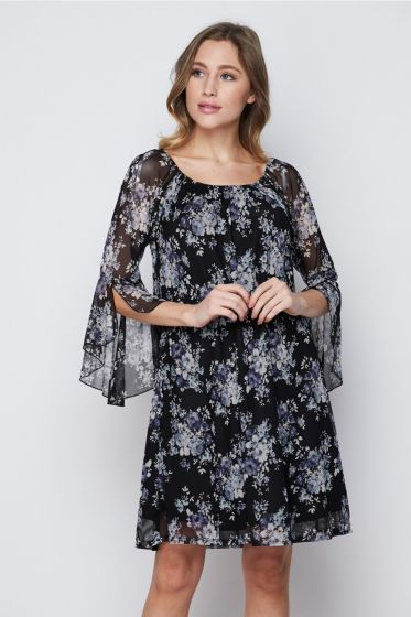 Honeyme Dress with Flared Sleeves & Sheer Fabric - Black & Blue Floral Print