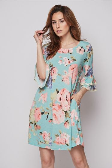 Honeyme Swing Dress with Lace Trim Ruffle Sleeves - Blush Roses Print
