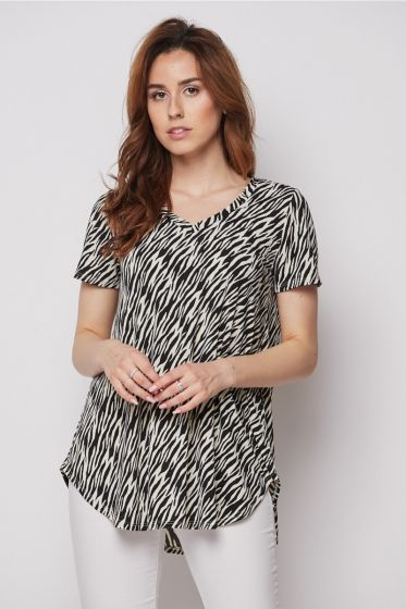 Honeyme Clothing V-Neck Short Sleeve Top - Black & White Zebra Print