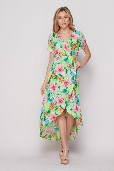 Honeyme Faux Wrap High Low Hem Dress - Pink & Blue Hawaiian Print