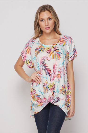 Honeyme Short Sleeve Top with Twist Hem - Colorful Palm Leaves