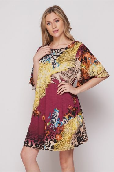 Honeyme Ruffle Sleeve Dress with Pockets - Animal Print Collage