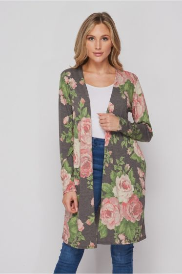 Honeyme USA Pink Roses Long Jersey Cardigan with Pockets