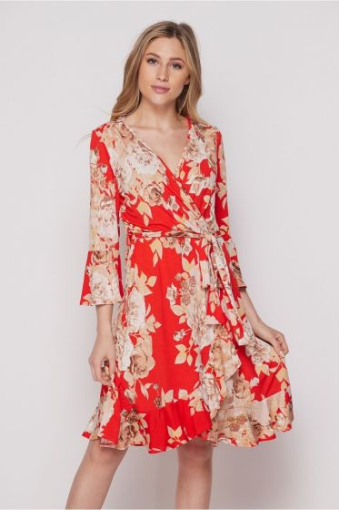 Honeyme USA Faux Wrap Dress with Tie & Ruffles - Red Rose Print