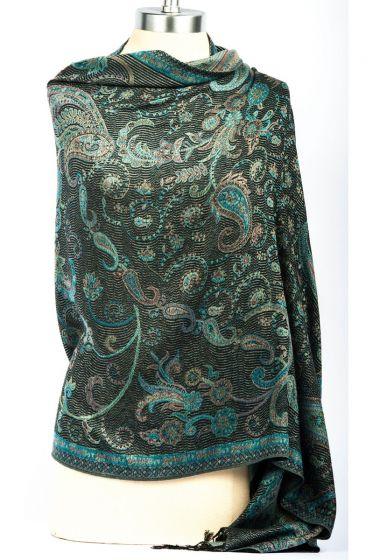 Fabulous! Silk & Pashmina Paisley Design Shawl Wrap by Rapti - Black & Teal