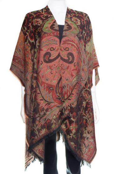 Beautiful! Silk & Pashmina Paisley Ruana Jacket by Rapti Fashion - Black & Red