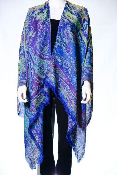 Beautiful! Silk & Pashmina Paisley Ruana Shawl by Rapti Fashion - Blue
