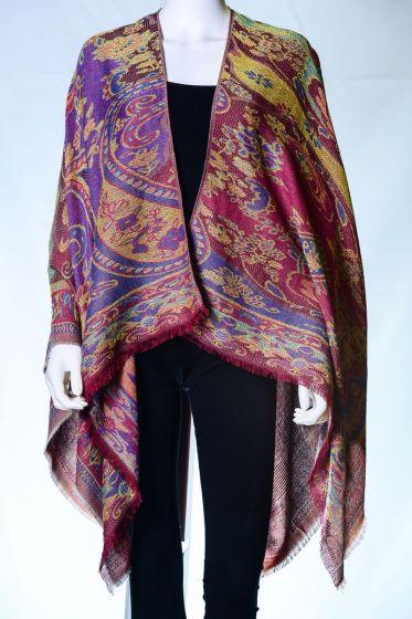 Wonderful! Silk & Pashmina Paisley Ruana Shawl by Rapti Fashion - Red