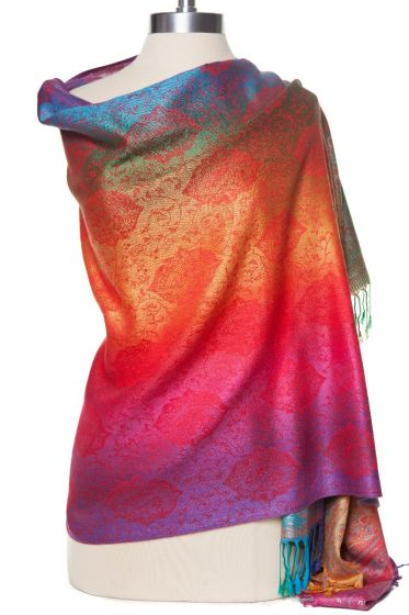 Fabulous! Silk & Pashmina Paisley Rainbow Shawl Wrap by Rapti Fashion