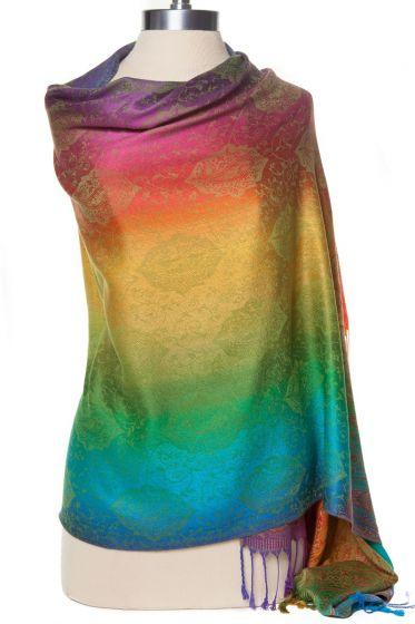 Fabulous! Silk & Pashmina Paisley Rainbow Shawl Wrap by Rapti Fashion