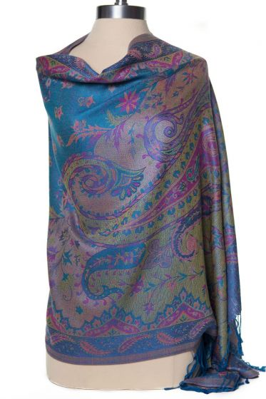 Gorgeous! Silk & Pashmina Paisley Shawl Wrap by Rapti Fashion - Pink, Purple