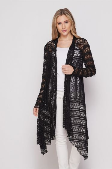 Honeyme Black Lace Long Sleeve Open Cardigan