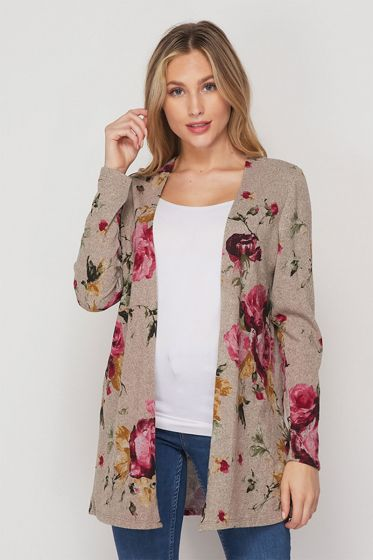 Honeyme Pink Roses Sweater Cardigan - Taupe/Burgundy