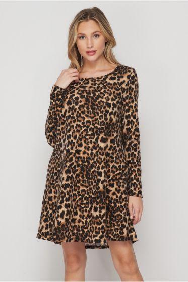 Honeyme Clothing USA Fleece Swing Dress - Leopard Print