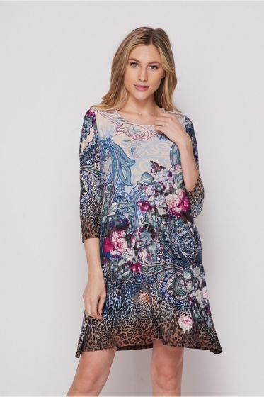 Honeyme Dress with Pockets - Floral/Animal Print Collage