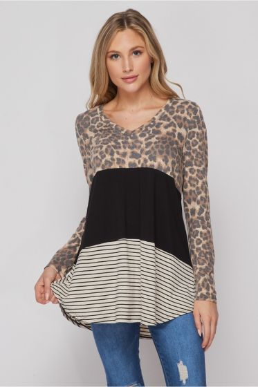 Honeyme Long Sleeve Top with Stripes & Leopard Print
