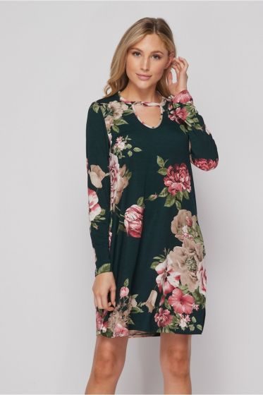Honeyme USA Pink Roses Print Dress with Long Sleeves & Pockets