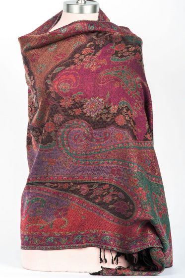 Beautiful! Silk & Wool Floral Paisley Shawl Wrap by Rapti Fashion