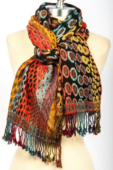 Luxurious! Silk Blend Lycra Hand Made Scarf by Rapti Fashion - Colorful Spots