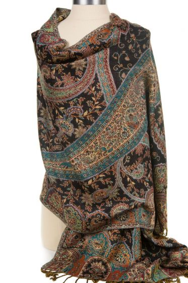 Cashmere Silk Blend Antique Design Shawl Wrap by Rapti - Black Paisley