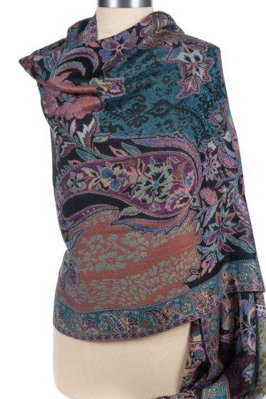 Cashmere Silk Blend Antique Design Shawl Wrap by Rapti - Black Floral