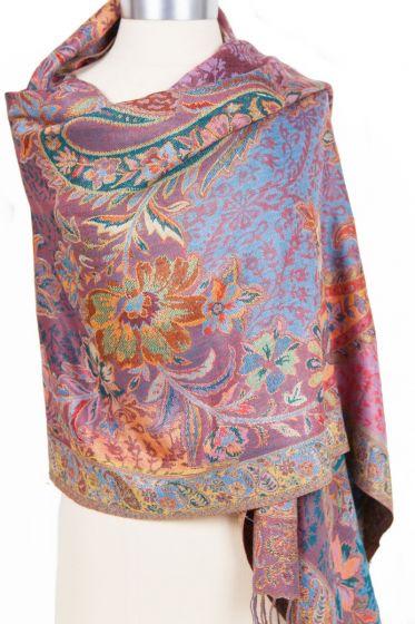 Cashmere Silk Blend Antique Design Shawl Wrap by Rapti - Lavender Floral